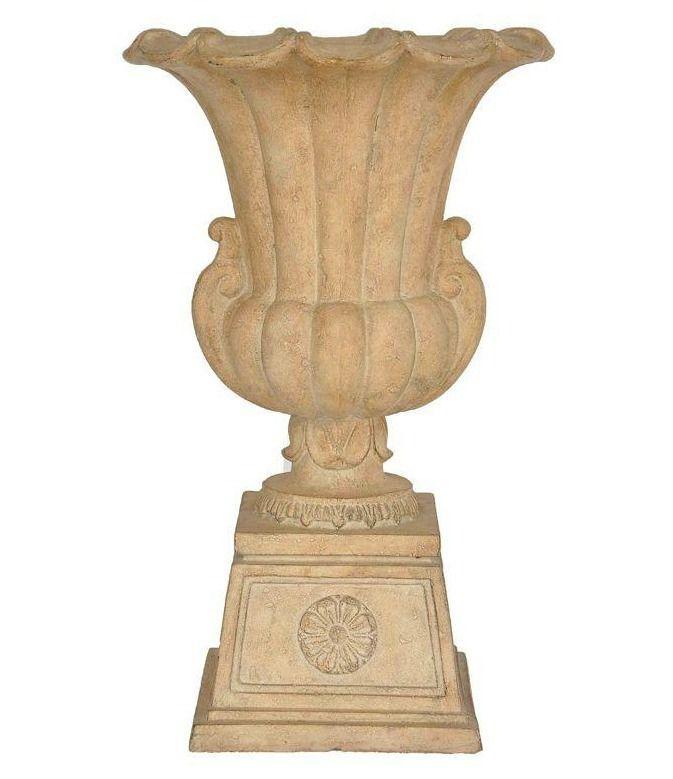 Cast Stone Garden Urn Pedestal Planter Porch Tall Decorative Flower Pot  Patio #MPG