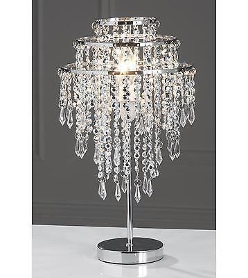 NEW Silver Bead Droplet Table Lamp Beaded Silver Chrome Acrylic ...