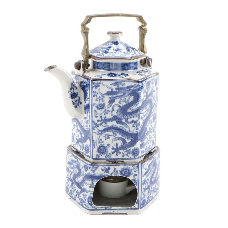 Seiryu The Toscany Collection Ceramic Teapot and Warmer with Dragon Motif