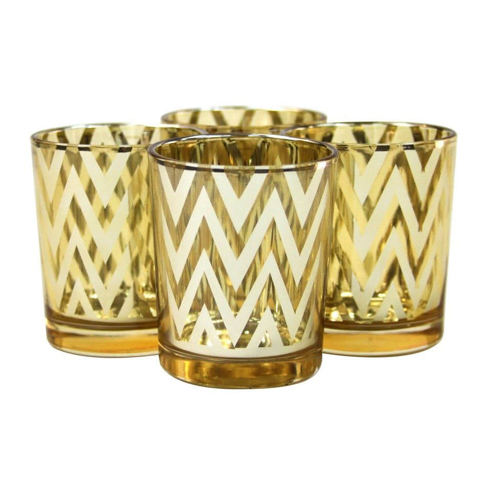 chevron votive candle holders 2 5 gold 424306 wholesale wedding supplies discount wedding. Black Bedroom Furniture Sets. Home Design Ideas