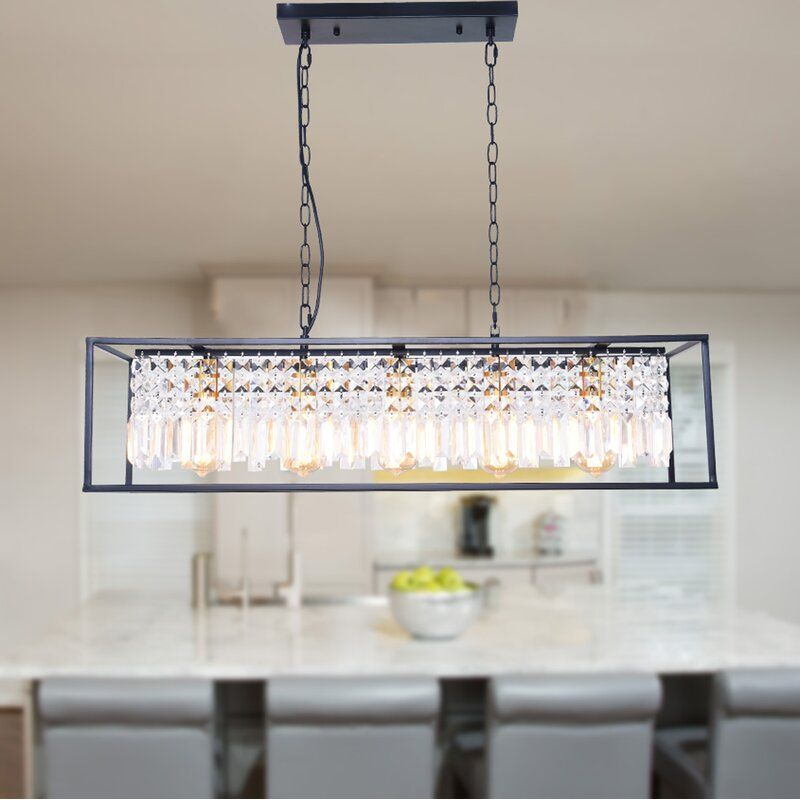 Rodger 5 Light Kitchen Island Liner Pendant With Crystal Accents In 2020 Kitchen Island Lighting Modern Kitchen Island Lighting Dining Room Light Fixtures