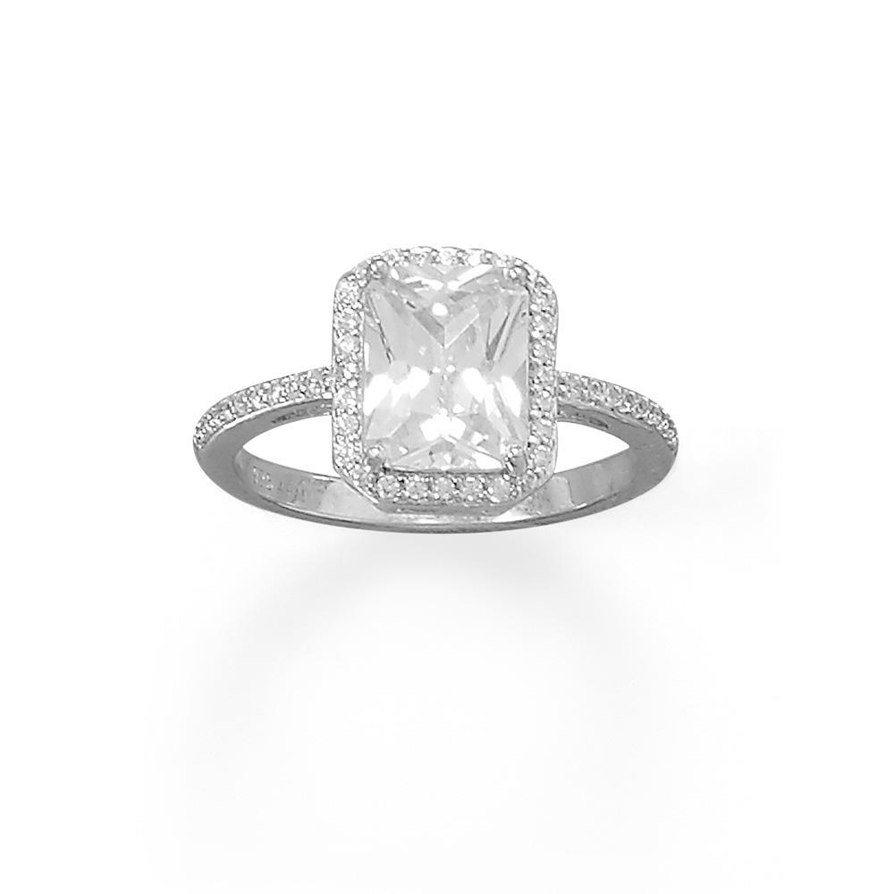 Rhodium Plated Cushion Cz Ring With Cz Edge Wedding Ring Bands