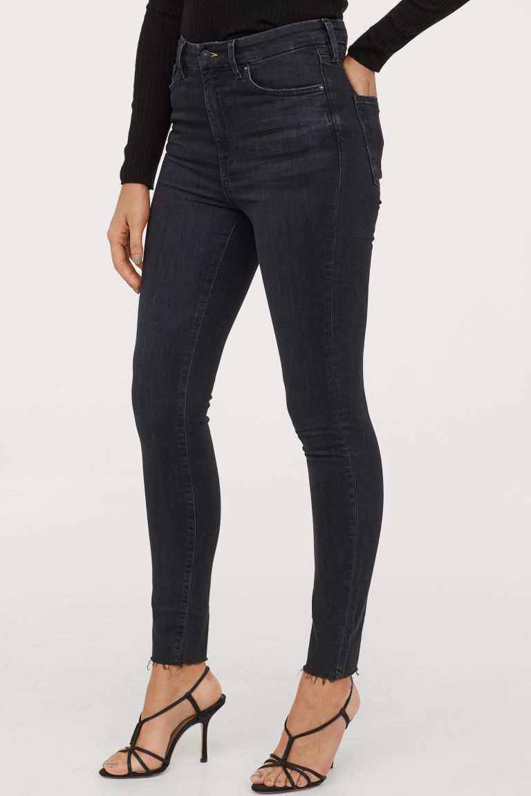 New H/&M Skinny Slim Fit Ankle Jeans Washed Stretch Denim Regular Waist