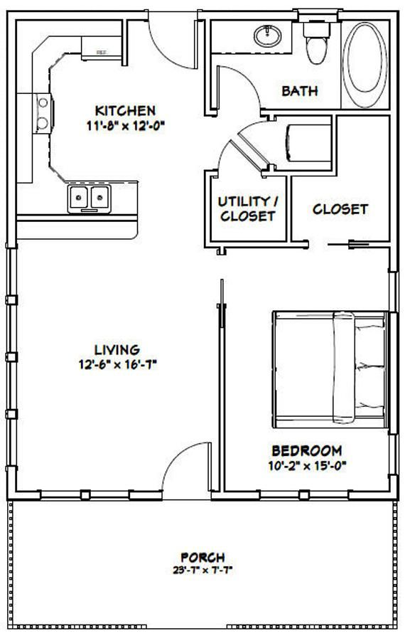 24x30 House 1 Bedroom 1 Bath 720 Sq Ft Pdf Floor Plan Etsy In 2020 Floor Plans Cabin House Plans Small House Floor Plans