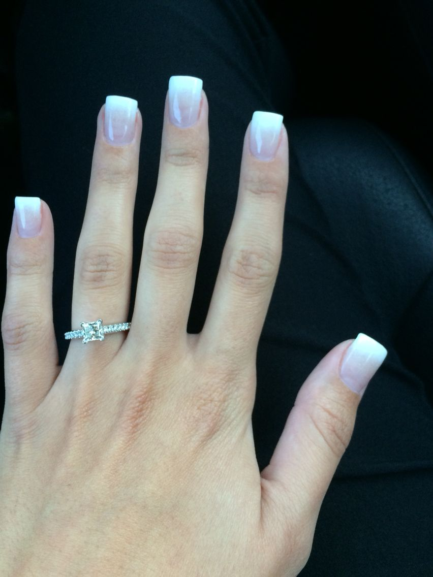 Faded French French Tip Acrylic Nails Faded Nails French Fade Nails