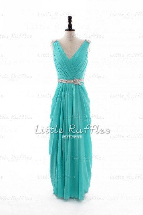 Aqua Chiffon Dress,Tiffany Blue Prom Dress,Turquoise Chiffon Bridal ...