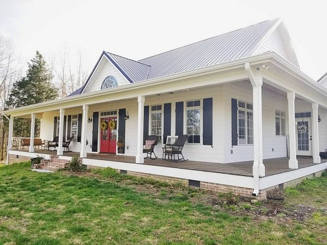Farmhouse Wrap Around Porch With Black Shutters And Metal Roof Farmhouse Wrap Around Porch With Black Sh House Plans Farmhouse House Exterior Ranch Style Homes