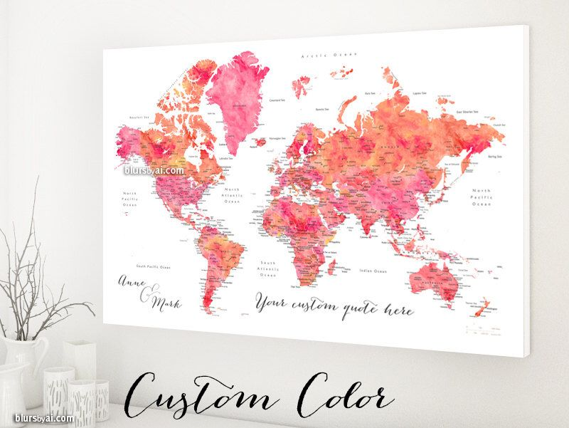 Custom color custom quote world map canvas print in 36x24 canvas custom color custom quote world map canvas print in 36x24 canvas map with gumiabroncs Image collections
