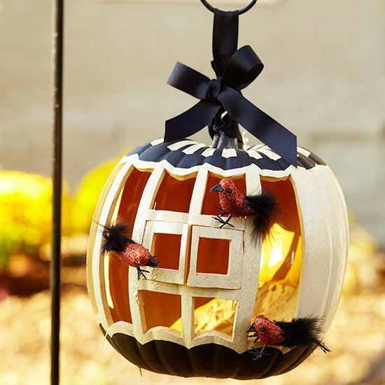 A birdhouse pumpkin!? So creative! More Pumpkin Carving Ideas and - halloween pumpkin decorations