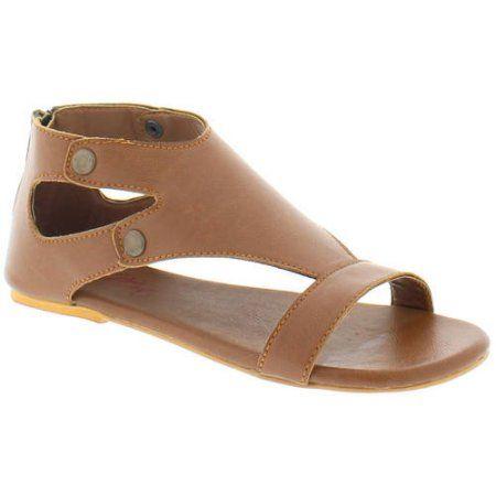 Shoes of Soul Women's Classic Ankle Strap Zipper Sandals, Size: 10, Beige