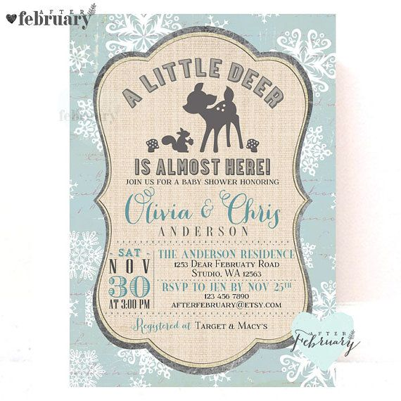 winter woodland baby shower invitation deer baby by afterfebruary, Baby shower invitations