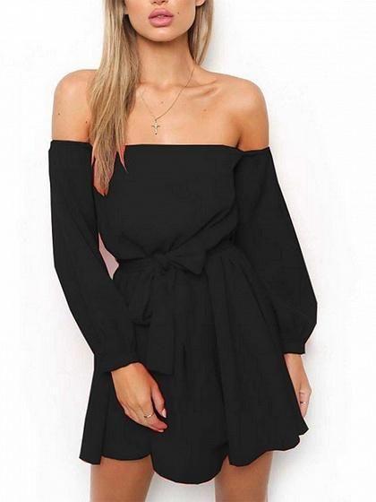 Black Off Shoulder Tie Waist Long Sleeve Mini Dress  58715843bb61