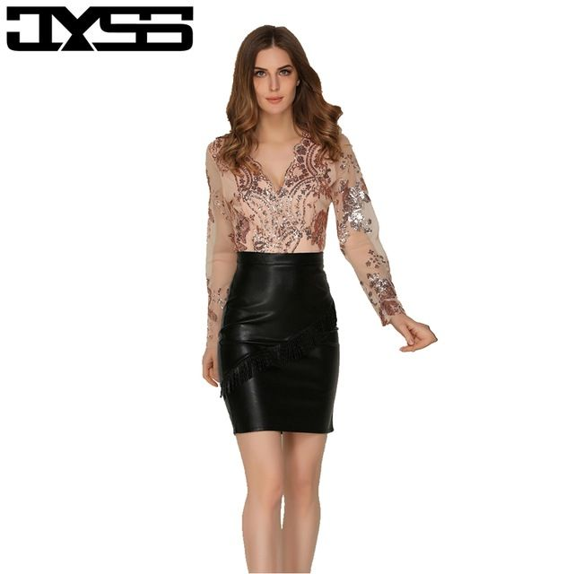 JYSS New arrival Fashion women Regular Playsuits Sexy Deep V-neck paillette jumpsuits  Lace long 7cfd52bd0076
