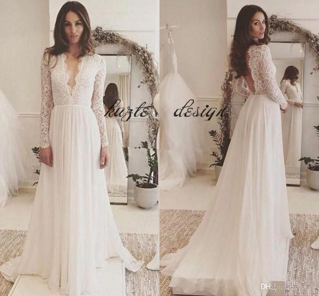4a00d6fafe0 Lace Chiffon Long Sleeve Plus Size Wedding Dresses 2018 Simple Cheap V-neck  Backless Sweep Train Country Flowy Beach Wedding Gown Mermaid Wedding Dress  Long ...