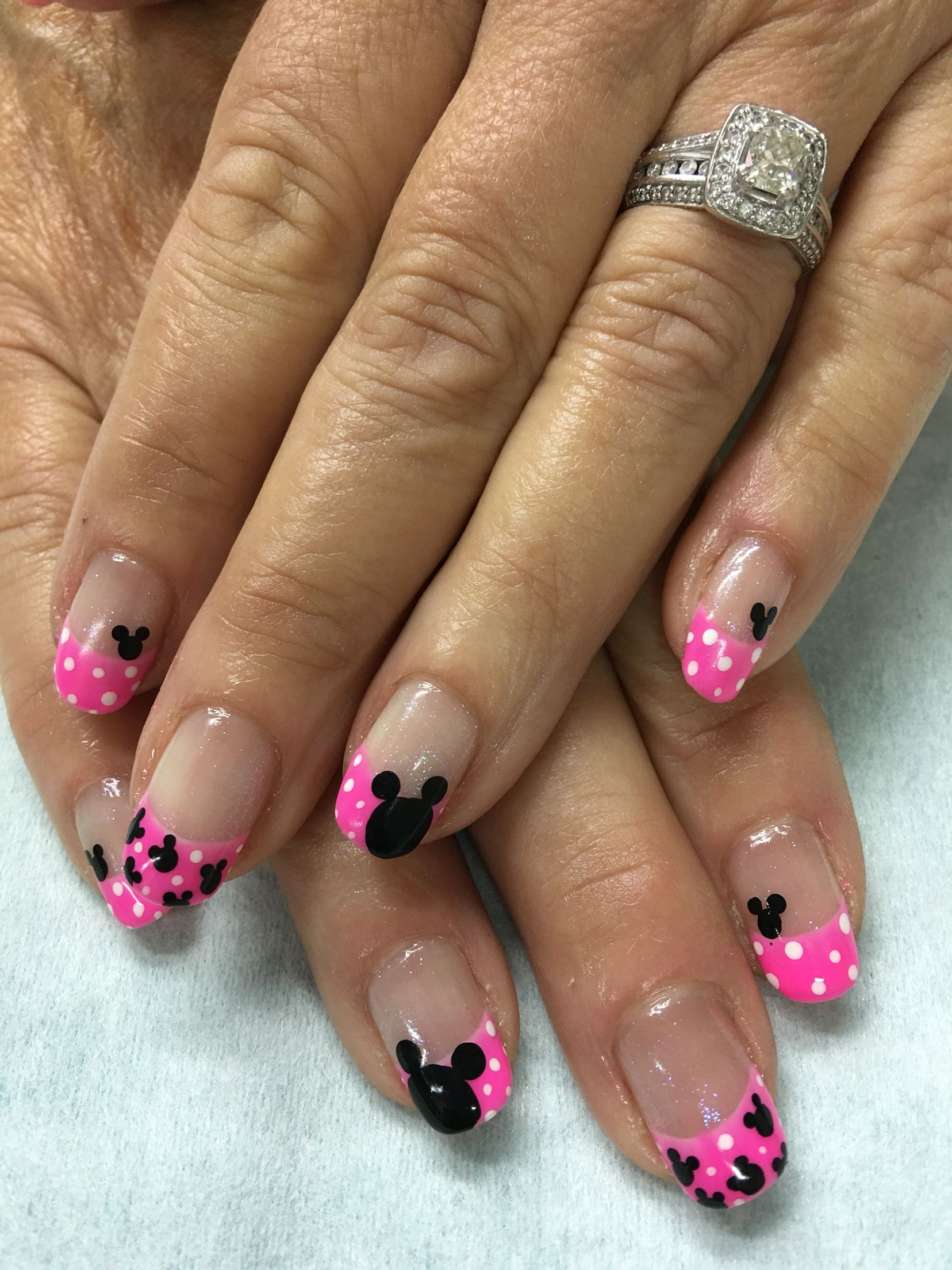 Disney Nails Pink Polka Dot Mickey Mouse gel nails | Gel Nail ...