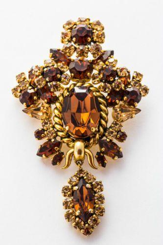 Genuine Rare Vintage Large Christian Dior Amber Brooch Stamped 1964