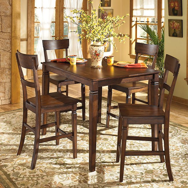 Exceptionnel Signature Design By Ashley U0027Barristeru0027 Rustic Brown Counter Height 5 Piece  Dining