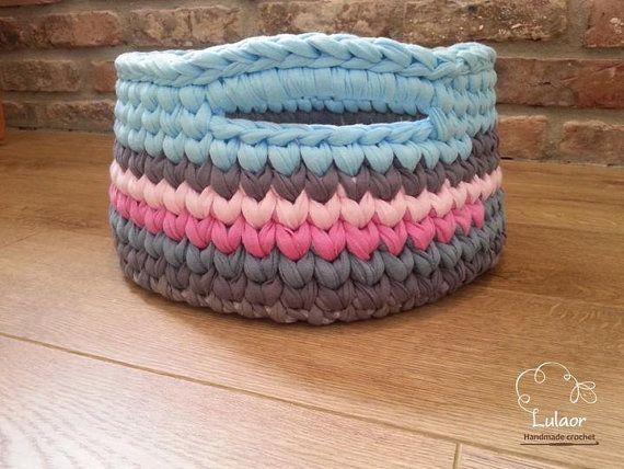 crochet tshirt yarn hoooked zpagetti basket! love the colours x