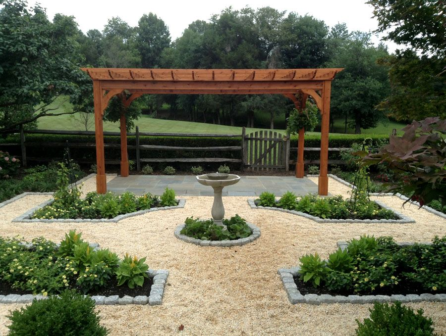 Kitchen Garden With Planting Parterres And Pergola For Outdoor Gatherings