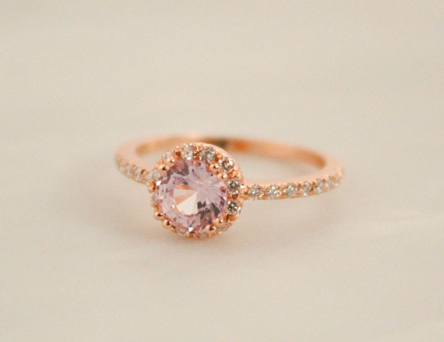 Peach Pink Shire Diamond Halo Engagement Ring In 14k Rose Gold