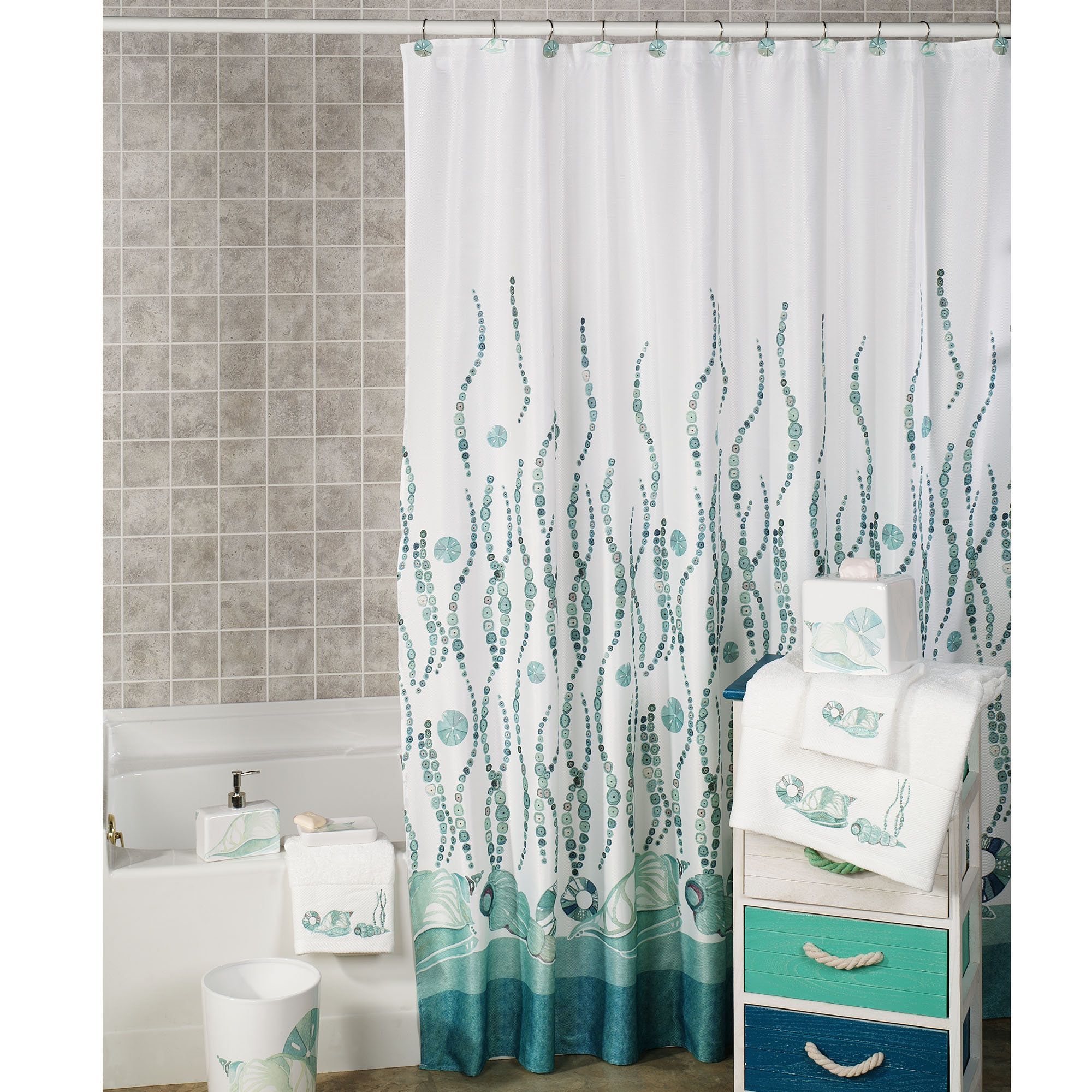 La Mer Coastal Shower Curtain Coral Shower Curtains Beachy Shower Curtain Beach Shower Curtains