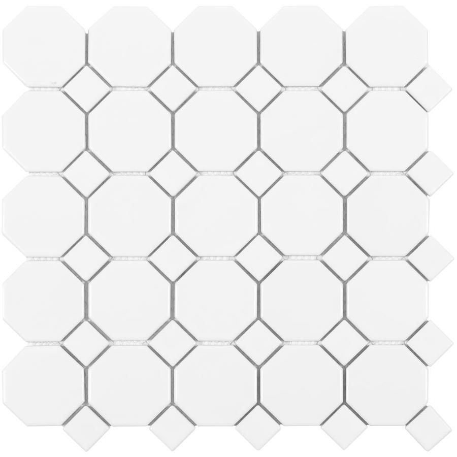 Satori Hudson Brilliant White Bistro 12 In X 12 In Matte Porcelain Mosaic Wall Tile Lowes Com Mosaic Wall Tiles Wall Tiles Porcelain Mosaic