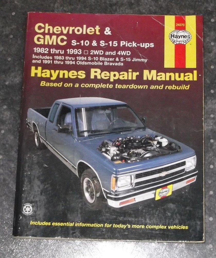 haynes repair manual chevrolet gmc s 10 s 15 pick ups 1982 thru rh pinterest com