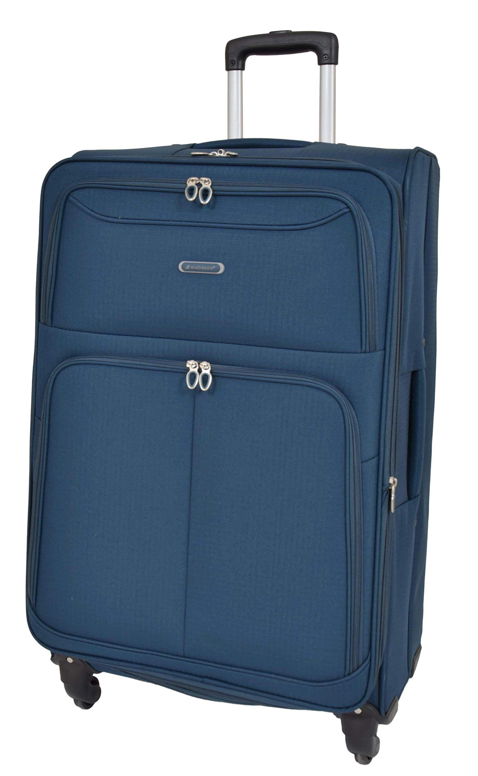 6849dc90db4a Travel Bags Soft Suitcases Blue 4 Wheel Luggage Lightweight ...