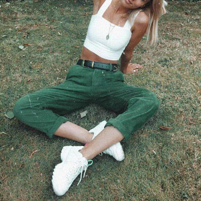 CORDUROY LOOSE WIDE LEG PANTS - Green / XL
