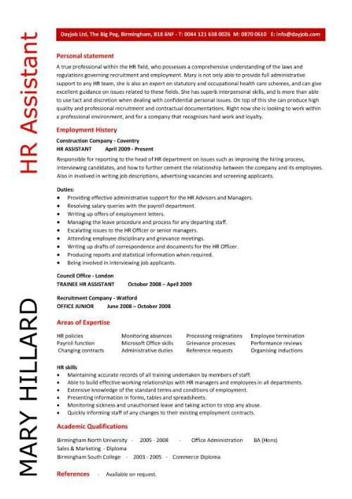 HR Resume Samples HR Assistant CV 5 HR Assistant cover letter 5