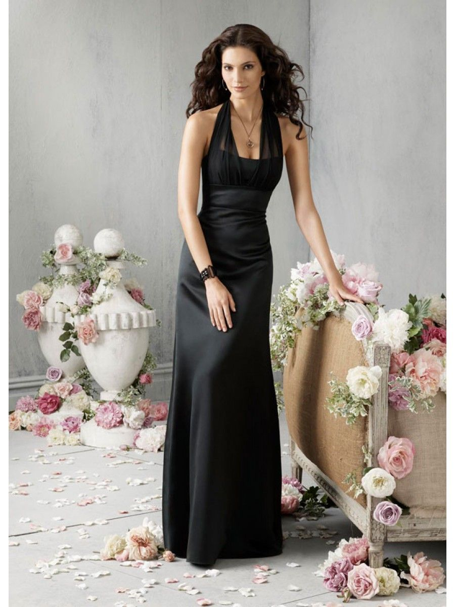 69d1f4a3493  115.9 A-line Halter Long Black Satin and Chiffon Bridesmaid   Prom    Evening   Formal   Wedding Guest Dresses 2301137