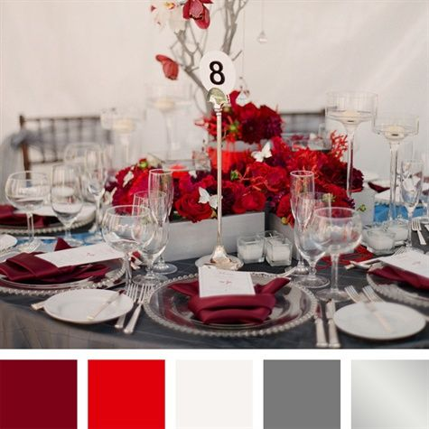 Crimson Red White Charcoal Silver Color Palette Red Wedding