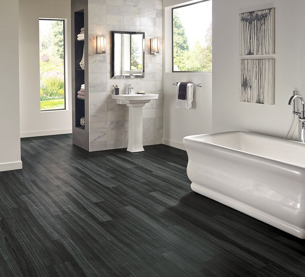 Dark Wood Tile Bathroom: Armstrong Luxury Vinyl Plank Flooring