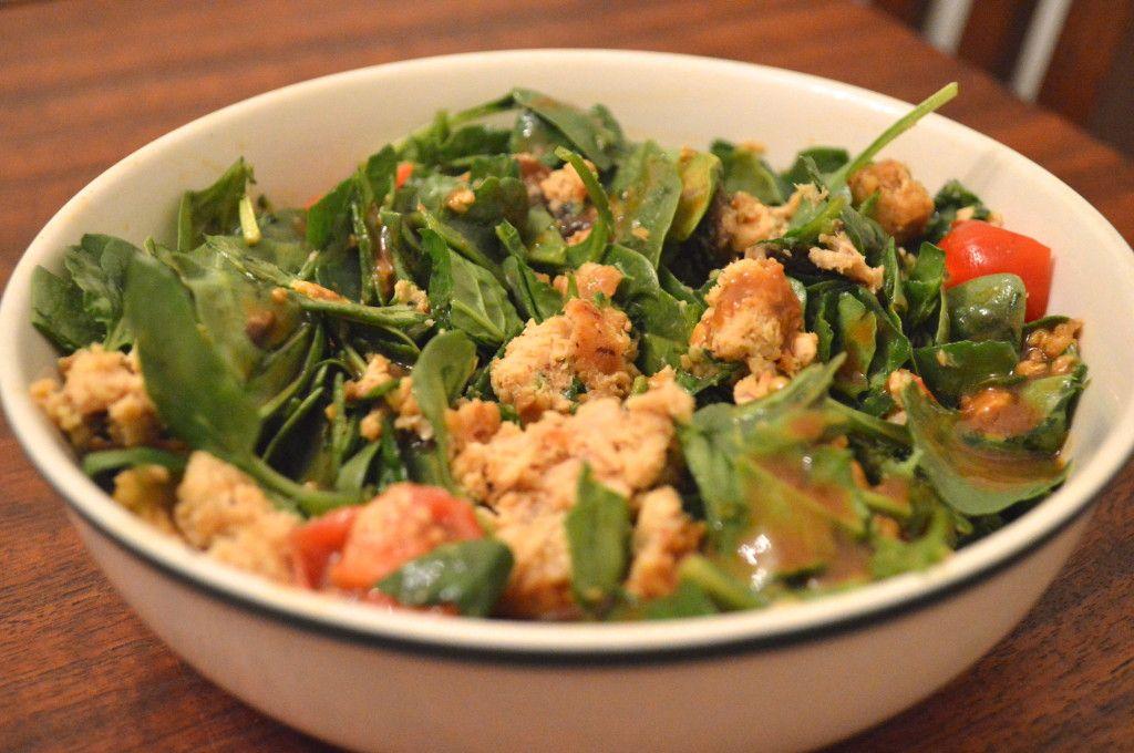 Salmon Meatball Salad with Honey Mustard Vinaigrette  (paleo, clean eating, gluten free, grain free, healthy)