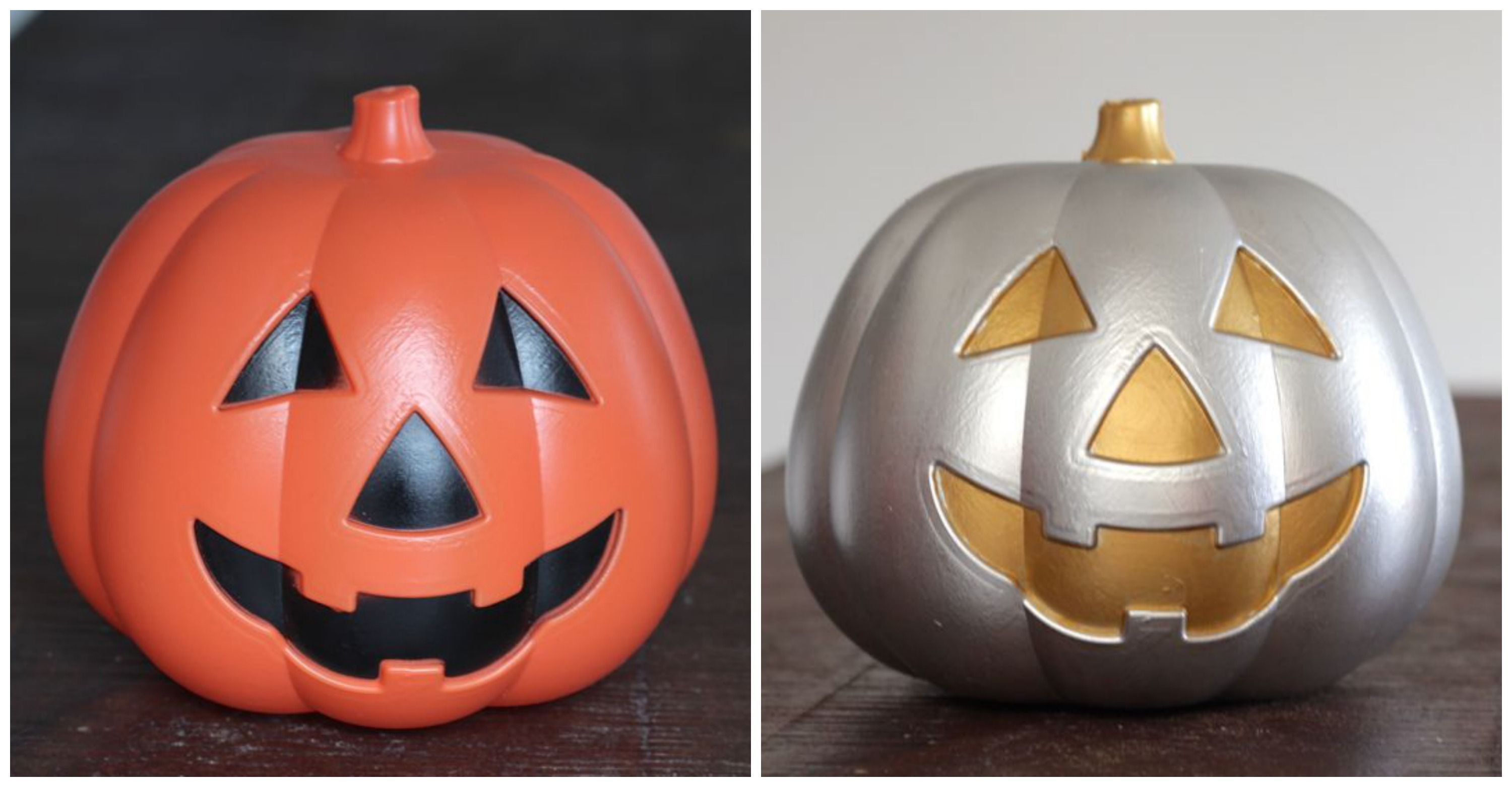 Dollar Store Pumpkin Makeover at www.alyssaandcarla.com, use KILZ primer.