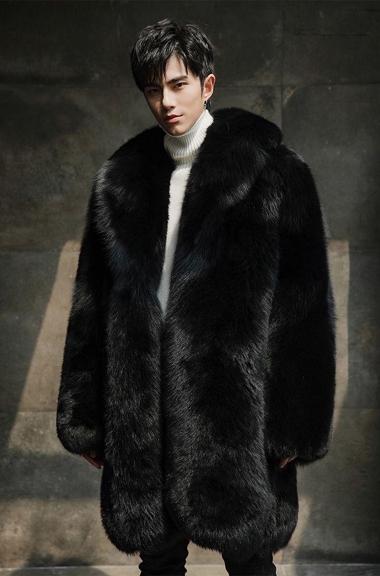 Men s Fox Fur Black Long Coat 382-1  83650361b2e8