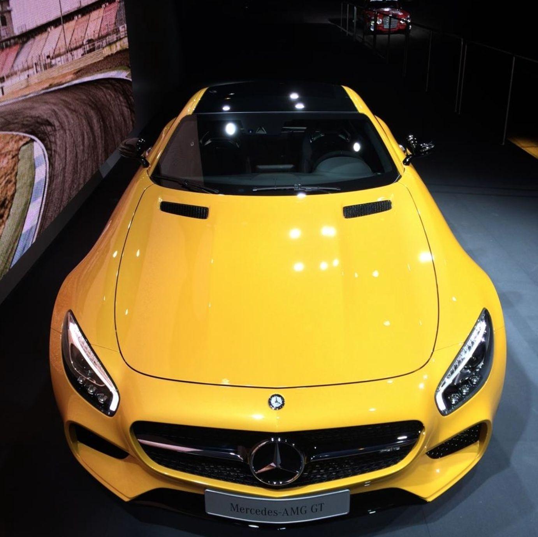 """What a face the new GT has got!"" - Photo by @der_landgraf - #mbcar #mercedes #amg #gt #gts #car #cars #sportcar #sportcars #drive #ride #yellow #race #v8"