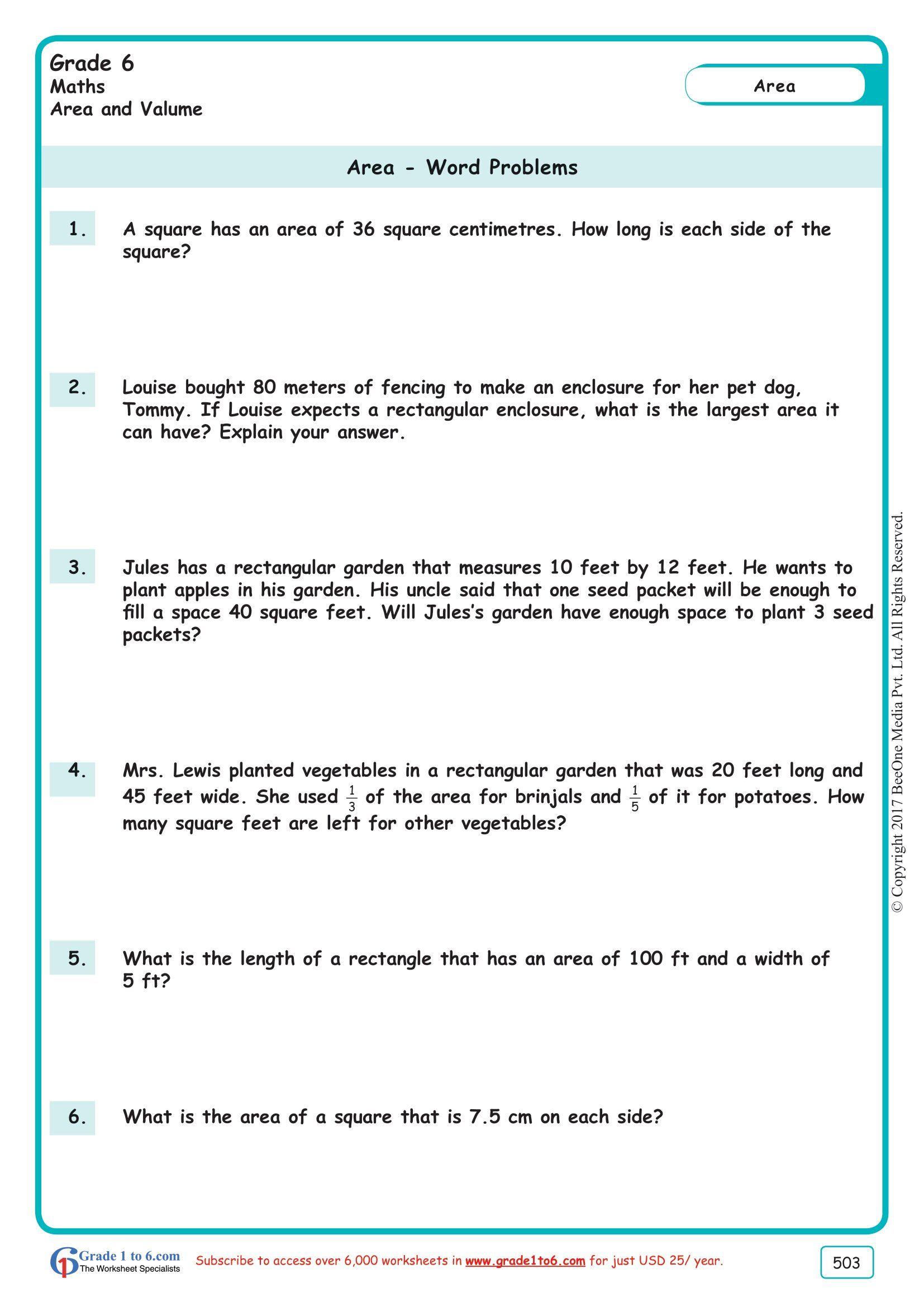 Worksheet Grade 6 Math Area Amp Perimeter Word Problems In