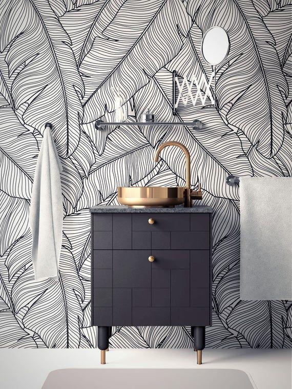 Tropical Removable Wallpaper Banana Leaves Wallpaper Modern Etsy In 2020 Banana Leaf Wallpaper Modern Wallpaper Removable Wallpaper