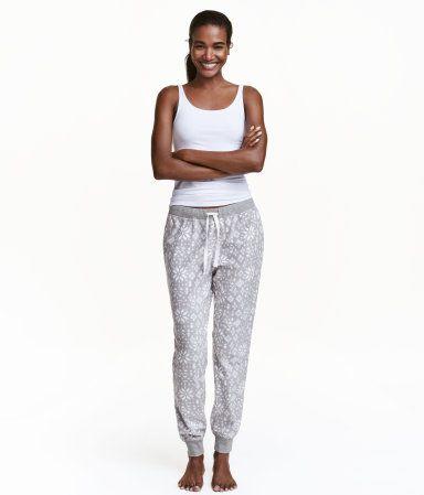 Fleece Pajama Pants Gray Snow Flake Ladies H M Us Sleepwear Women Fashion Sleepwear Sets