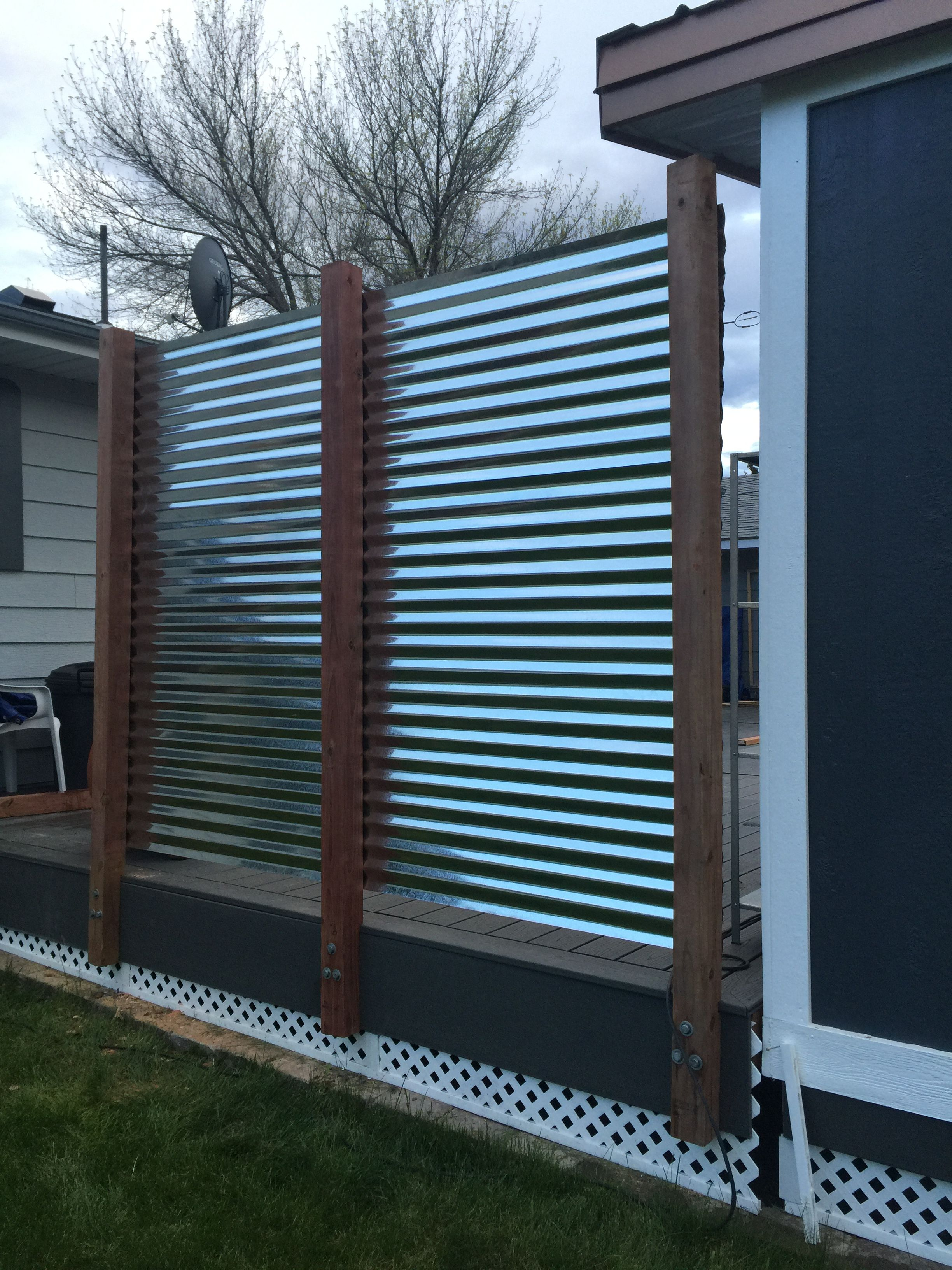 Corrugated metal privacy fence | Backyard fences, Privacy ...
