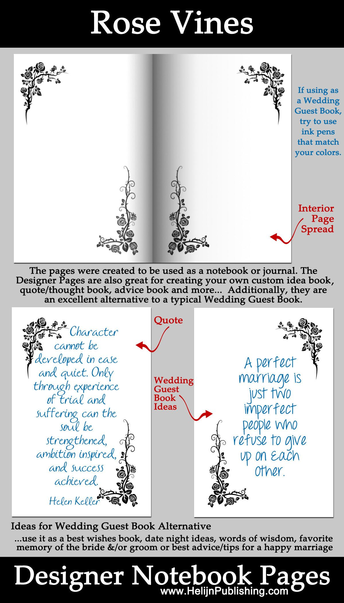Designer Pages. Rose Vines design on each of the page. The design ...