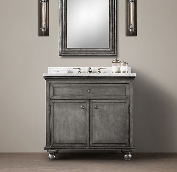 Beautiful Zinc Single Vanity Sink From Restoration Hardware For 1st Floor Bathroom