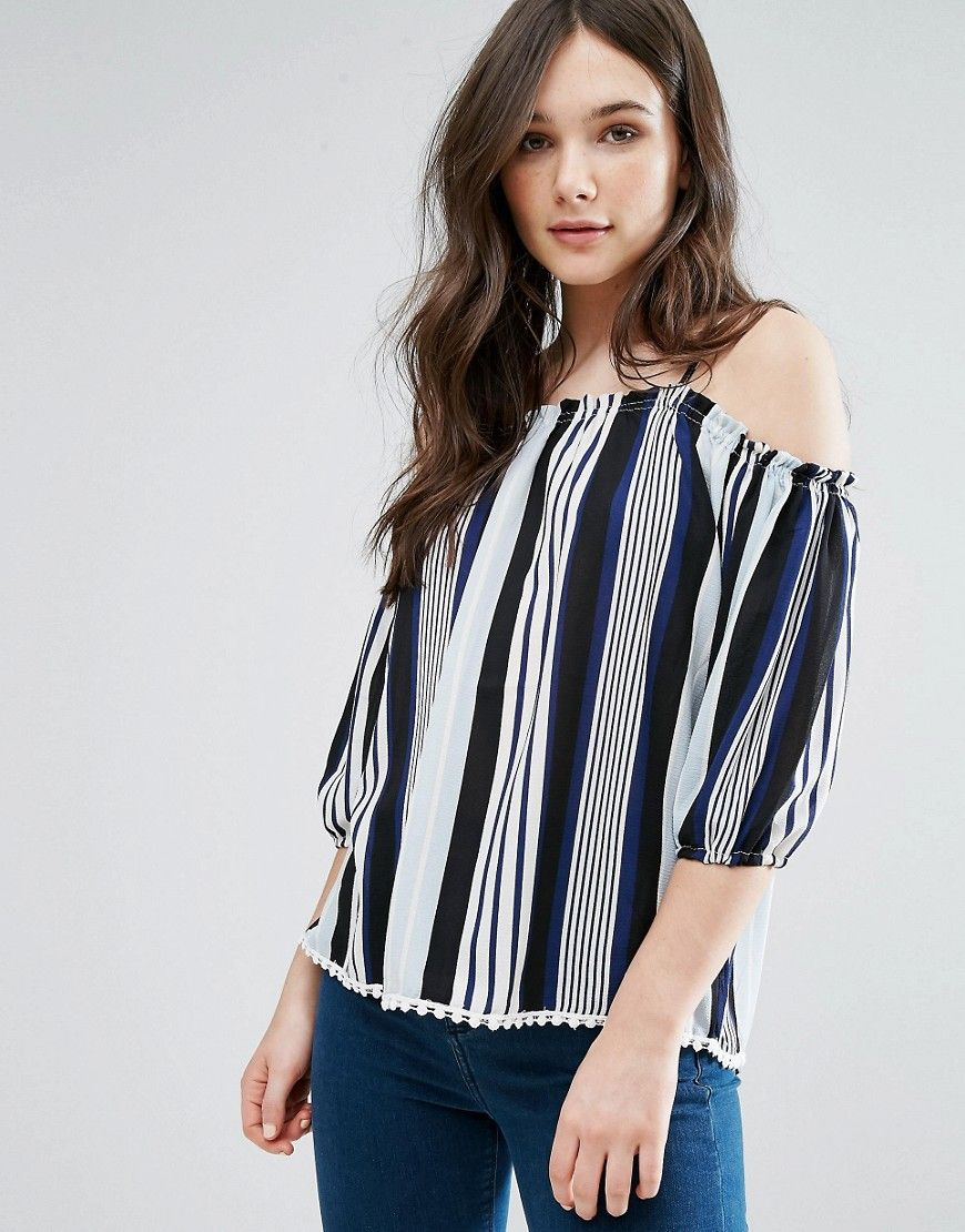 Off Shoulder Stripe Top - Black Qed London Pay With Paypal Online Footlocker Finishline Sale Online WqIMw