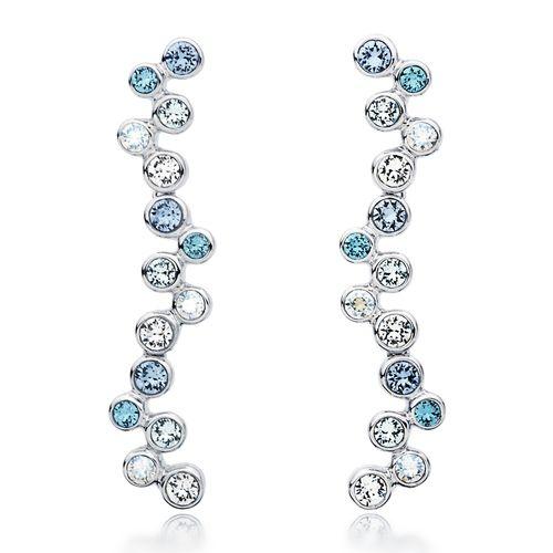 MYJS Fidelity Rhodium Plated Bubbles Dangle Drop Earrings with Blue Swarovski Crystals 4HvAG5Pjwk