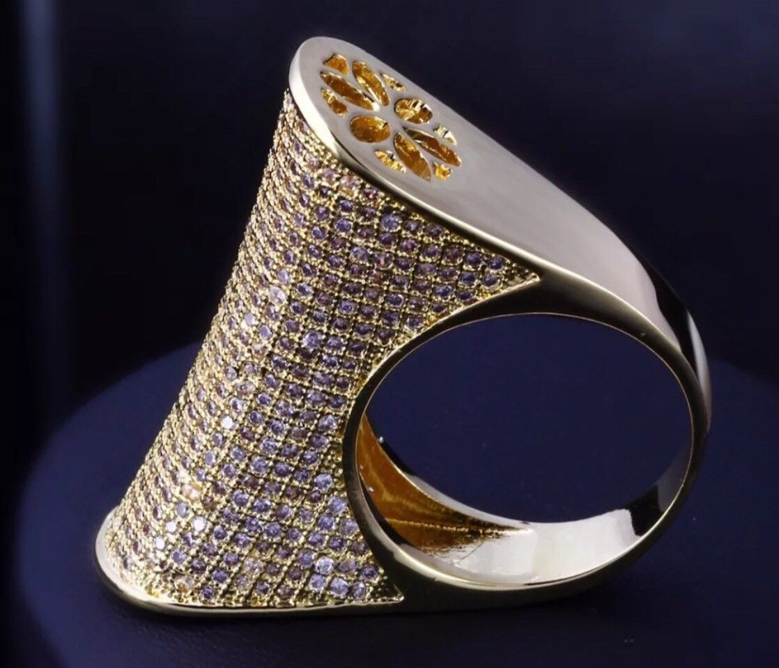 0ac10e2f7 18k Gold Large Ring made w Swarovski Crystal Pave Stone Gorgeous Index Ring  | eBay