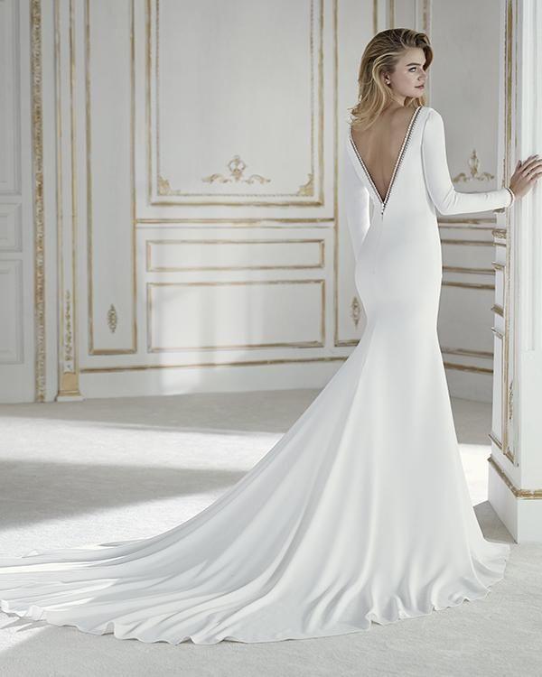 Sheer Lace Long Sleeve Satin Mermaid Wedding Dresses: Simple Long Sleeve Wedding Dresses V-Neck Silk Satin