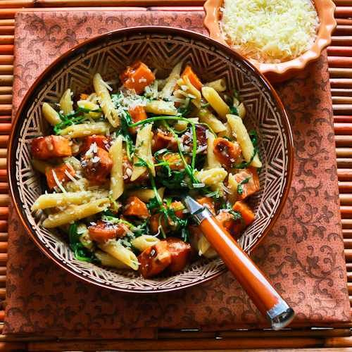 Recipe for Easy Penne Pasta with Balsamic Sweet Potatoes, Baby Arugula (or Spinach), and Parmesan [from KalynsKitchen.com]