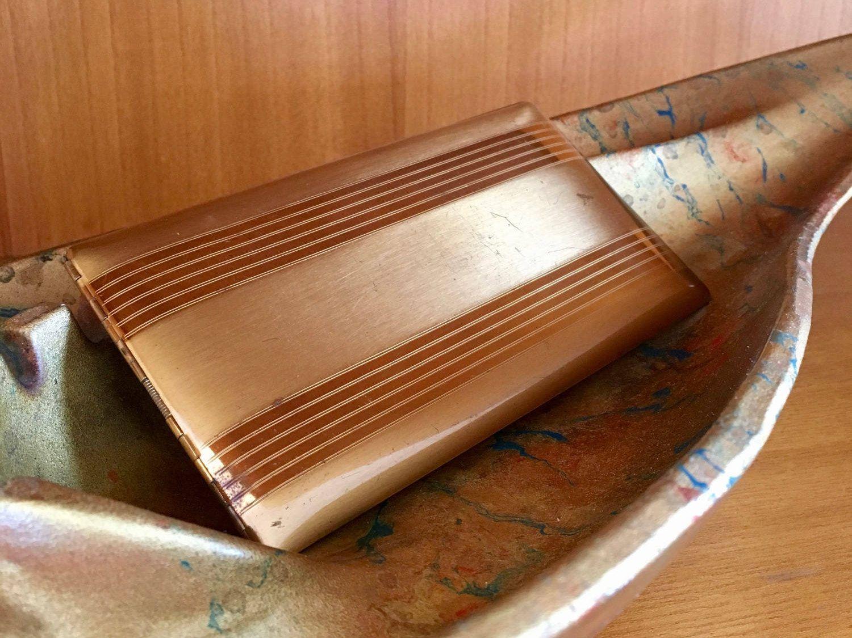 Vintage Elgin American Long Cigarette Case Business Card Case Gold ...