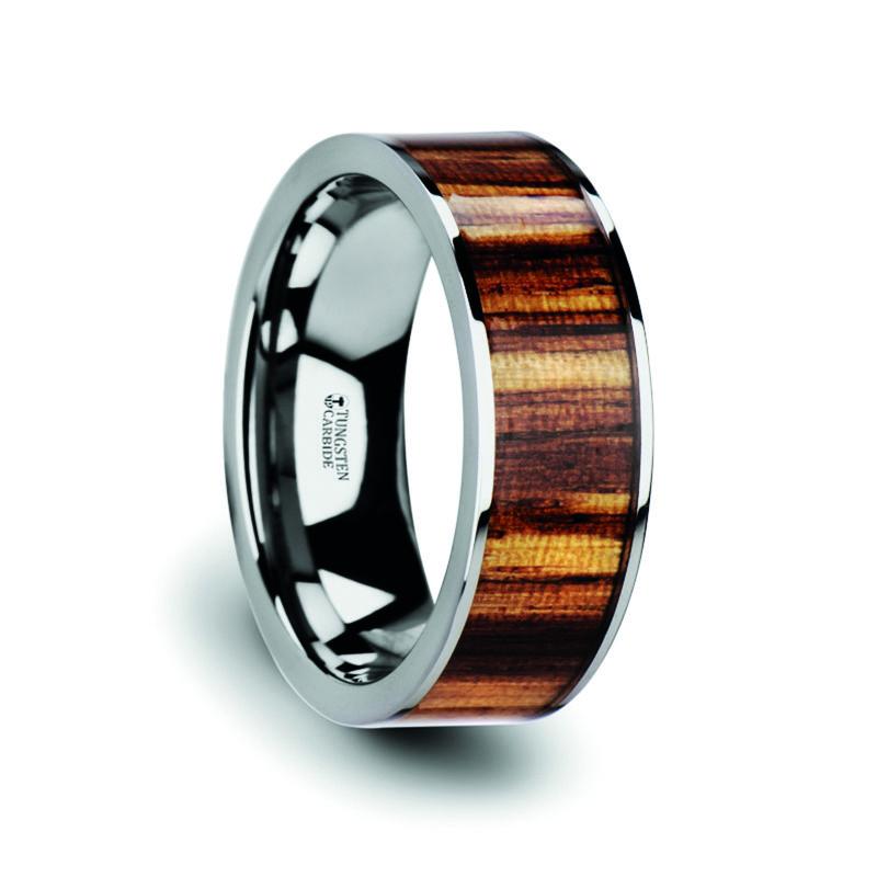 Men's Flat Tungsten Carbide Ring with Genuine Zebra Wood